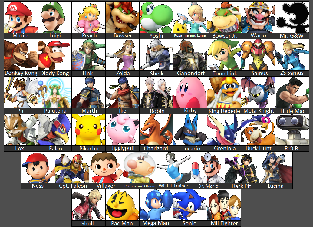 Super Smash Bros 4 Character Select Screen 3DS