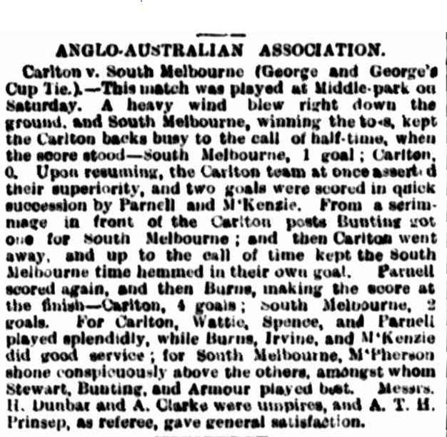 1889 George and George Carlton vs South Melbourne