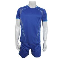 Cheapest blue training short sleeve soccer jersey with short kit 2