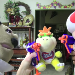 Bowser Junior and Toad with Nerf Guns