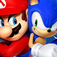 Mario and Sonic fighting