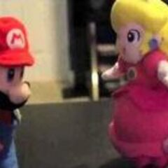 Mario talking to Peach.