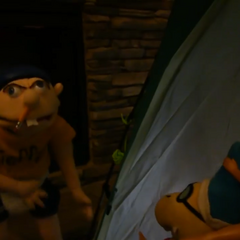 Jeffy watches Cody and Ken strip on film.
