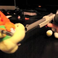 Black Yoshi trys to shoot Bowser