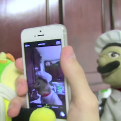 Junior takes a picture of Chef Pee Pee