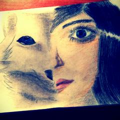 Dawno nie rysowałam i powstało takie cuś, pół wilczek pół dziewczyna, ciekawe kto zgadnie kogo on przedstawia ^^