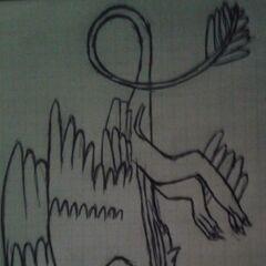 Tym razem nudy na biologi. XD Oczywiście mądra ja nie umie rysować piór, a zachciało mi się narysować kruko smoka... Od razu wspomnę, że tego gado-ptaka widziałam gdzieś na dewie i z pamięci trochę zmieniając narysowałam.:3