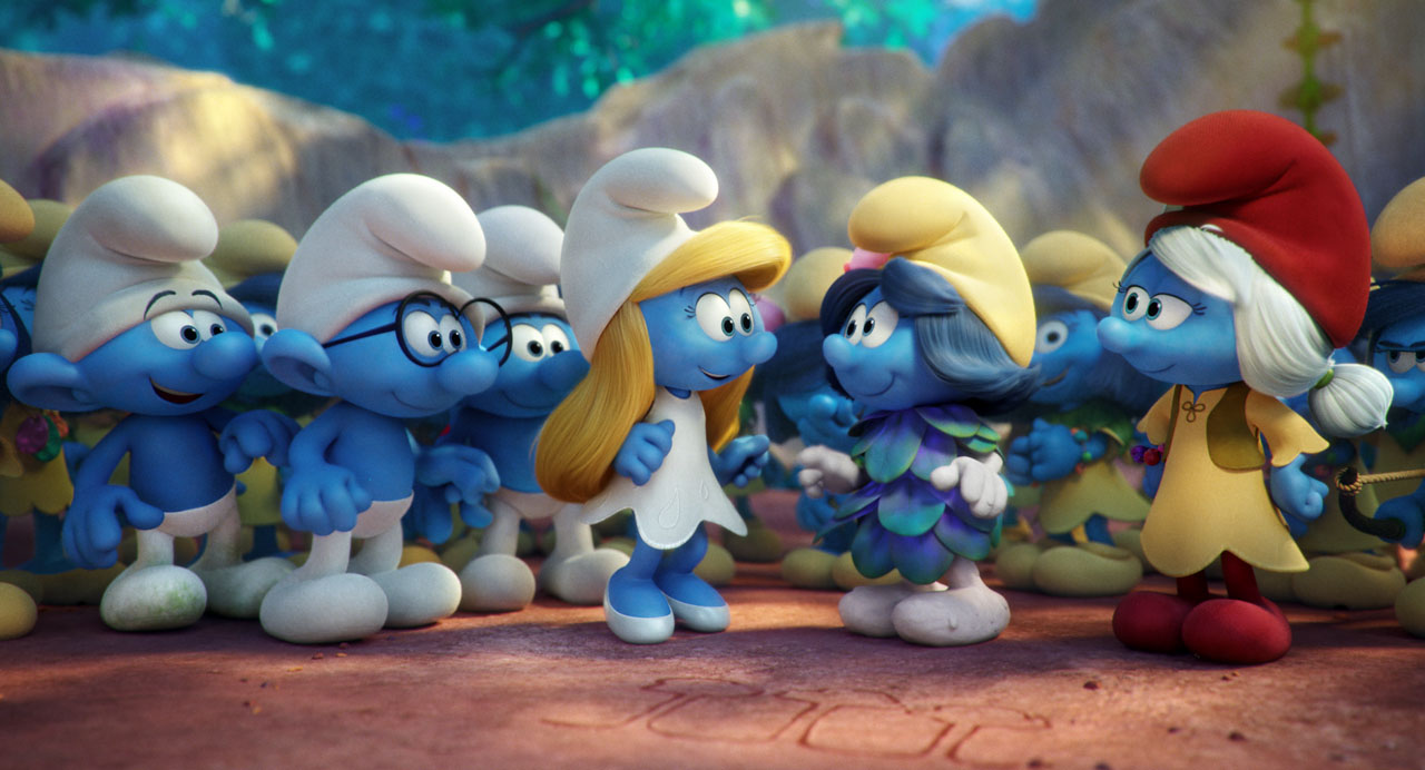 Image brainy hefty clumsy smurfette smurfblossom and - Hefty smurf the lost village ...