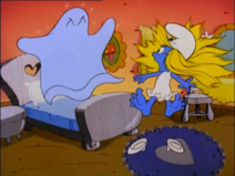 Smurfette Scared By Bedsheet