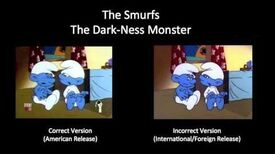 "The Smurfs - Goof from ""The Dark-Ness Monster"""
