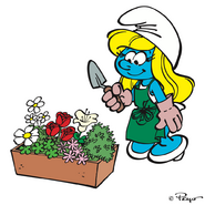 Smurfette and the flowers