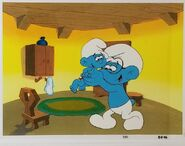 Brainy Smurf and Baby Smurf Animation Production Cel