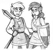 Sir Josten & Lady Falla in Uniform Pen Sketch