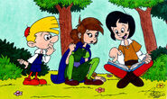 Reading in the Woods - Smurfs