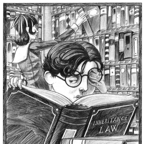 The Baudelaires in the library.