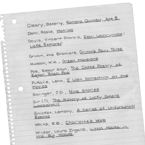 Ms. K's reading list.