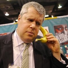 Handler with a banana phone.
