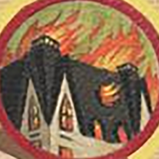 The mansion burning seen on the top right of each book cover