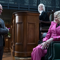 Olaf, Justice Strauss and Esmé during the trial.