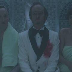 Count Olaf with Jerome Squalor and Babs in a sauna.
