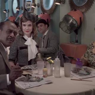 Mr. Poe having dinner at Herring Houdini.