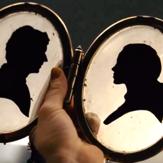 Silhouettes of Bertrand and Beatrice.