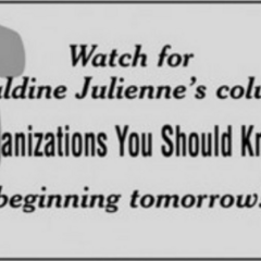 Advertisement for her column.