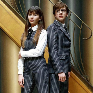 Violet and Klaus in pinstripes.