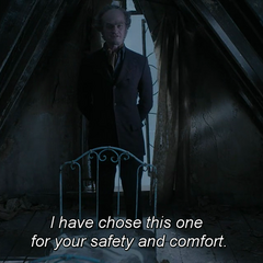 Count Olaf in the orphan's bedroom.