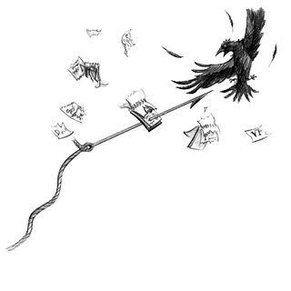 Esmé's harpoon gun about to injure a crow.