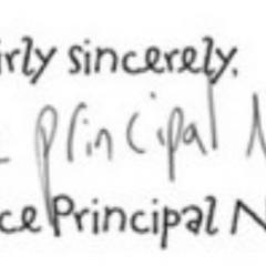 Vice Principal Nero's signature.