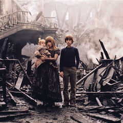 Violet, Klaus and Sunny at their burned home.
