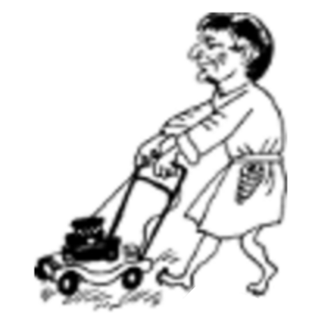 Larsen with the lawn mower in the Russian illustrations.