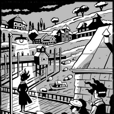 Tatiana, Snicket and Treacle on Gobi Pier.