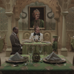 The Hotel Denoument's Indian restaurant attended by Arthur Poe, Sunny Baudelaire, and