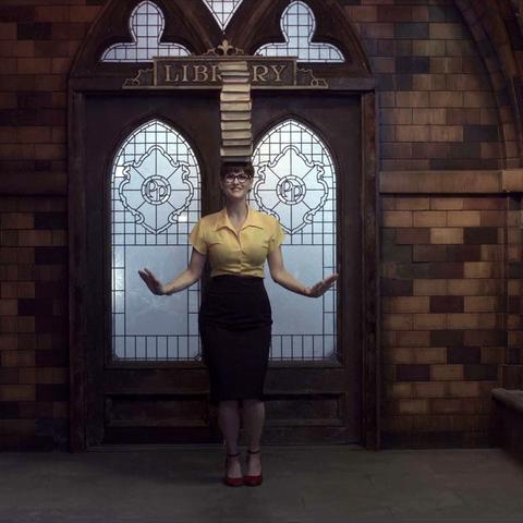 Olivia Caliban outside the entrance.