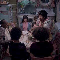 Mr. Poe having family dinner.