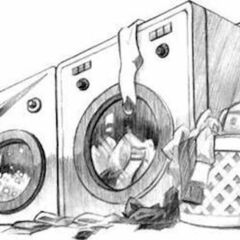 The washing machines in the laundry room.