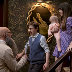 Stephano threatening the Baudelaires with a knife.