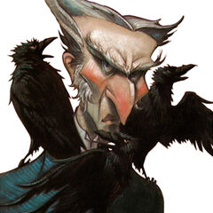 Count Olaf on the cover of The <i>Dilemma Deepens</i>.