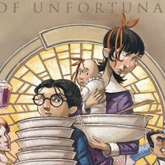The Baudelaires serving pasta puttanesca to Olaf's group