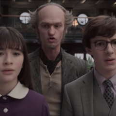Count Olaf, Violet and Klaus in Court.