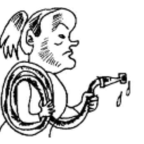 Willa with a garden hose in the Russian illustrations.