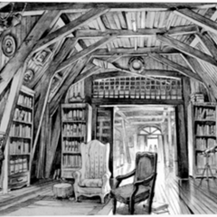Concept art of Aunt Josephine's library by Jim Martin