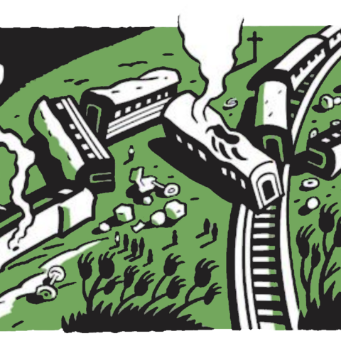A train crashed at the forest's edge.