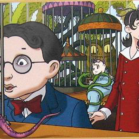The Baudelaires in the Reptile Room.