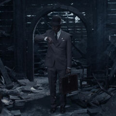 Mr. Poe in the ruins.