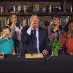 Daniel Handler and a group of random children drinking Parsley Soda.