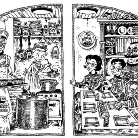 Widdershins (right) in the kitchen in the Russian version.