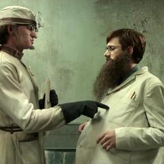 Klaus disguised as Doctor Faustus.